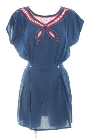 Sugarhill boutique Blusenkleid dunkelblau abstraktes Muster Casual-Look