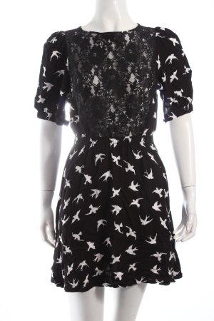 Sugarhill boutique Kleid schwarz-weiß Allover-Druck Spitzenbesatz