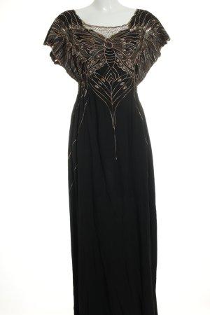 Sugarhill boutique Kurzarmkleid schwarz-beige extravaganter Stil