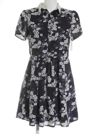 Sugarhill boutique Kurzarmkleid wollweiß-dunkelviolett Blumenmuster