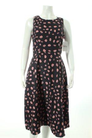 Sugarhill boutique Midikleid dunkelblau-rosé Motivdruck schlichter Stil