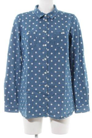 Suit Camicia denim blu-bianco motivo a pallini stile casual