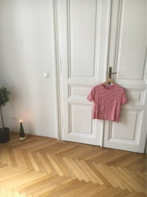 Gestreept shirt baksteenrood-wit