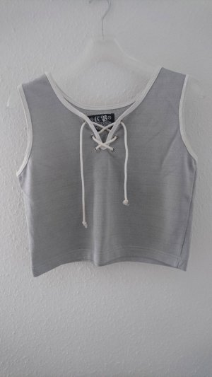 Tank Top white-silver-colored rayon