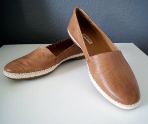 Paul Green Slip-on Shoes cognac-coloured-natural white leather