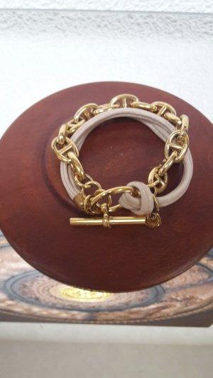 Stylisches Armband - nudfarbenes Leder & Kette mit Knebelverschluss!
