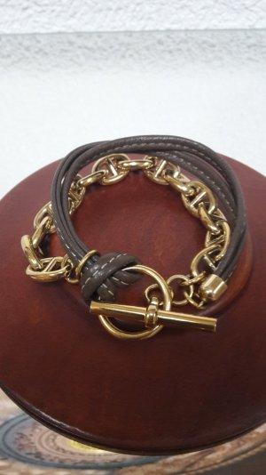 Stylisches Armband - schokobraunes Leder & Kette mit Knebelverschluss!