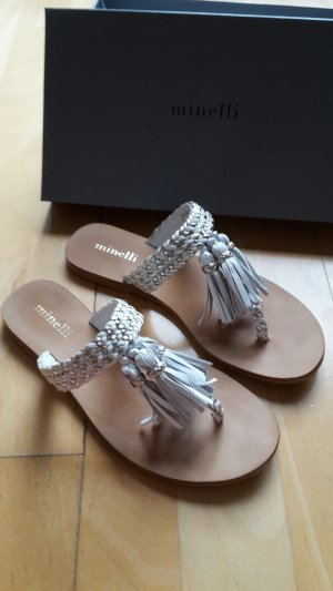 minelli Toe-Post sandals white-sand brown leather