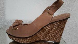 Uterqüe Platform Sandals pink-rose-gold-coloured leather