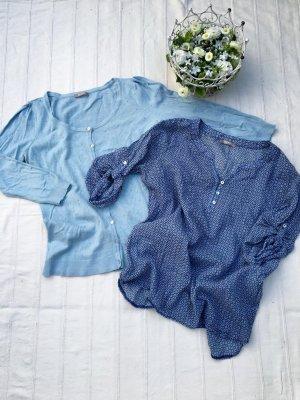 SummerSale: ORSAY SET Hellblau: gemusterte Schlupf-Bluse + 3/4 Arm Weste mit Knöpfen (36/38)