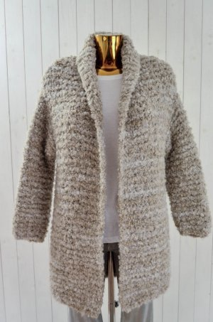 SUMMUM Damen Strickmantel Strickjacke Long Bouclé Kit Grau Beige Gr.M Neu!