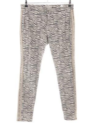 Summum Slim Jeans creme-schwarz Animalmuster Casual-Look