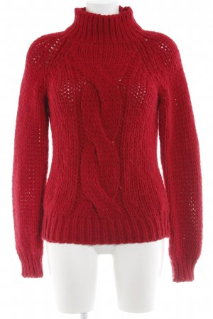 Summum Strickpullover rot Zopfmuster Casual-Look