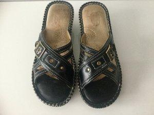 SUN SHINE Damen Leder-Sandalen in Schwarz Gr.40