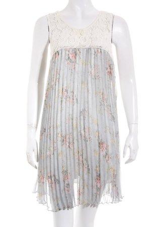 Suncoo A-Linien Kleid creme-blassblau florales Muster Boho-Look