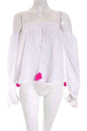 Sundress Carmen-Bluse weiß-pink Lochstrickmuster Romantik-Look