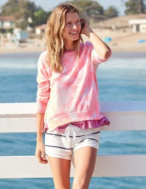 Cashmere Jumper oatmeal-neon pink cashmere
