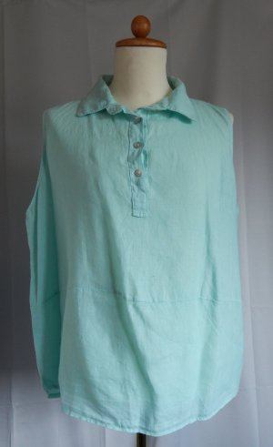 Mouwloze blouse lichtgroen Linnen