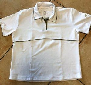 Sunrise Sportshirt weiss mit khakifarbenen Biesen