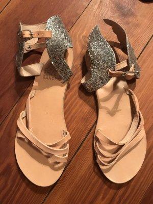 Suoer süße Sandalen mit Flügeln mit silbernen Pailletten besetzt Ancient Greek Sandals