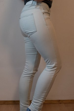 H&M Jeans skinny blu pallido-bianco Cotone