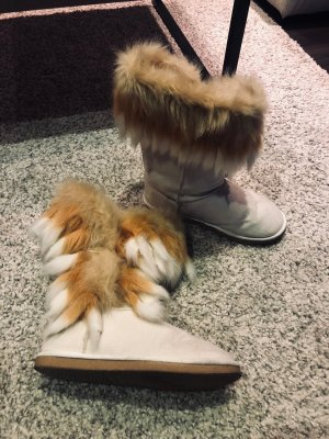 super bequeme JustFab Fuzzies Boots natur weiß mit Fell orange creme