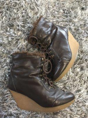 Zara Platform Booties brown
