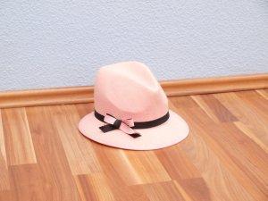 super chicer Filzhut Rosa Trilby mit Schleife Herrenhut ausgefallen gr. 54 cm