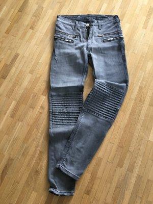 Super coole Jeans Biker Style schwarz ausgewaschen