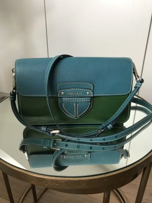 Super coole PRADA Tasche Clutch zum umhängen/crossbody in smaragd & blau