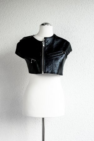 Super cooler Leder-Bolero kurzarm - mit Reisverschluss & Brusttasche - Gr S/M 36 38