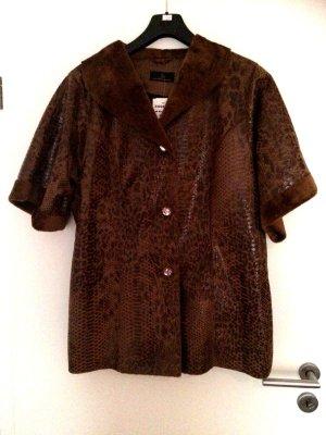 100% Fashion Blouse Jacket brown-cognac-coloured fake fur