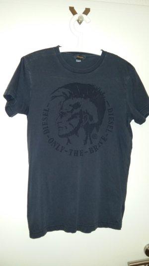 Super Diesel-T-Shirt in dunkelblau mit Retro-Marken-Aufdruck, Gr. 38