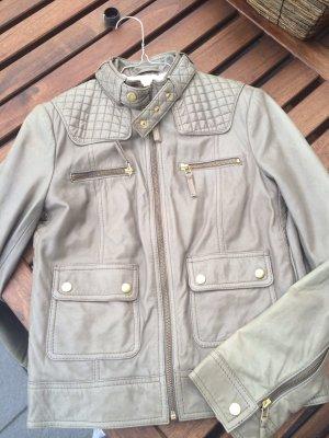 Zara Veste en cuir gris-doré