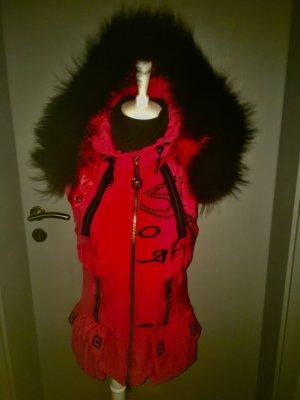 Sportalm Chaleco con capucha rojo-negro