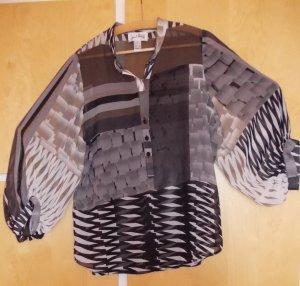 Super-elegante, leichte Joseph Ribkoff Bluse Gr. 36 schwarz-grau-beige-braun