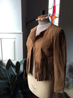 super feine und stylische Lederjacke mit feinen Fransen und Flechtdetails NEU