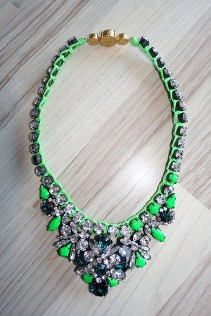 Super funky Kette von SHOUROUK ! In Neon-Grün mit Kristallen und Schmucksteinen besetzt !