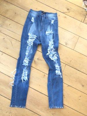 Hoge taille jeans veelkleurig
