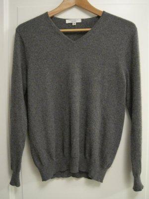 Super kuschelig weicher 100% Kaschmir-Feinstrick-Pullover, anthrazit-grau, Gr. 38, v-Ausschnitt, absoluter Klassiker!