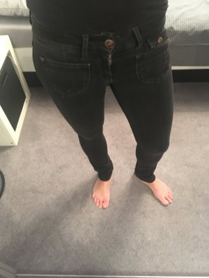 Super Low Waist Jeans used washed schwarz Only Gr. 25/32
