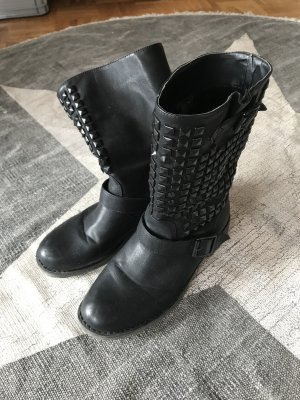 Wide Calf Boots black imitation leather