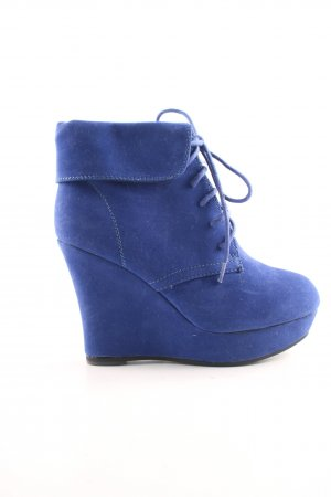 Super Mode Wedge Booties blue extravagant style