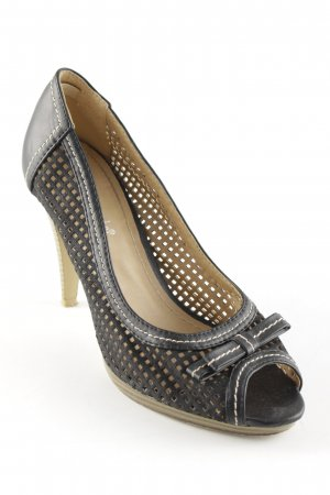 Super Mode Peeptoe Pumps schwarz-beige