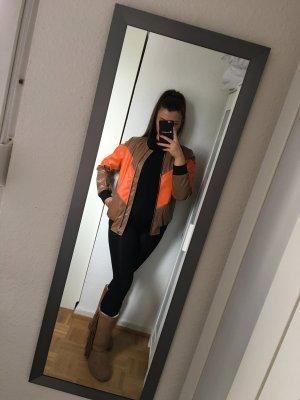 super moderne Blogger Kunst Leder Bomber Jacke orange braun schwarz