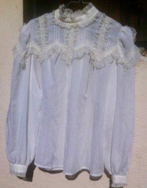 Blusa con volantes blanco Poliéster