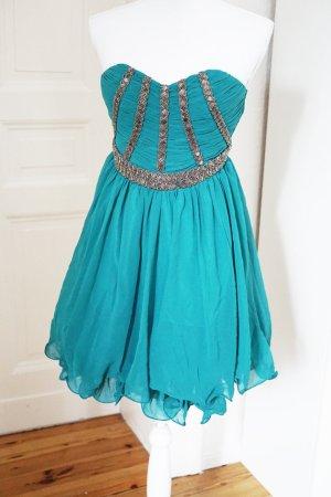 *SUPER SALE* Kleid türkis Perlen bestickt abnehmbare Träger Tüll 36 / 38 S M