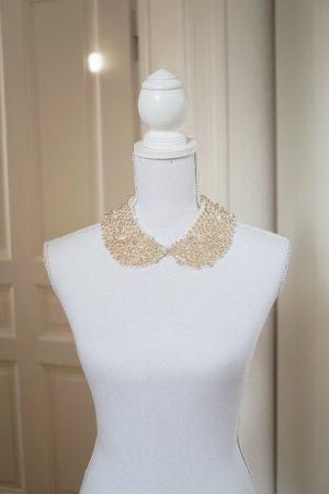 SUPER SALE! Perlen Halskette Perlen handbestickt handmade weiß creme elegant