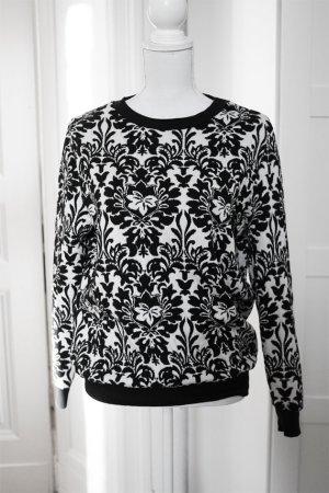 SUPER SALE Pullover schick schwarz weiß Muster elegant 100% Baumwolle Mango M 38