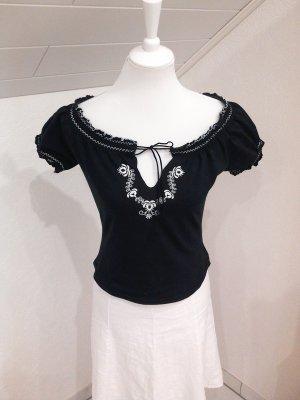 Super Sale%schöne Carmen-Bluse/Shirt/Top,Vollklore, schwarz,Gr. 36/S